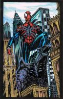 Spiderman on Roof Top Colored by CharlesHdez