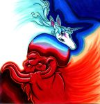 The last Unicorn and the red bull by Sunny-la