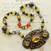 Citrine and Topaz Assemblage Necklace by asunder