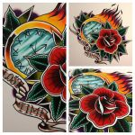 traditional clock and rose by jerrrroen