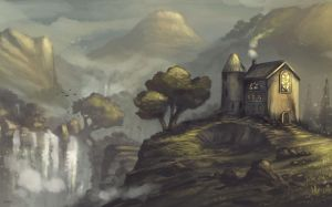 House by waterfall by Seamus-Design