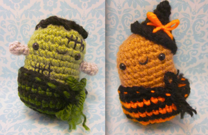 TWO Halloween Spuds Potato Special Amigurumi by Spudsstitches