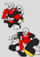 Underfell Bros Tickle Fight by zeroa5raven