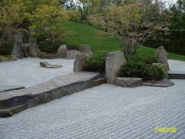 Japanese stone garden by Noirin-Stock