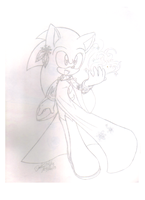 Sonic as Elsa (Not colored) by sonicartist16