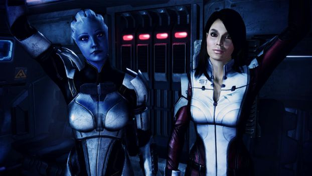 Liara T'Soni and Ashley Williams by johntesh