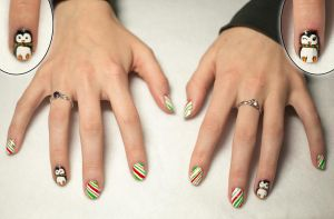 Penguin Candy Cane Nail Art by elvaniel
