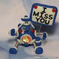 Polymer Clay Robot I Miss You Glow and LED by KIMMIESCLAYKREATIONS