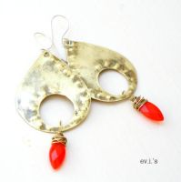 Bright Red Quartz Marquis Brass Teardrop by IoannaEvans