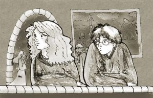 Harry and Hermione in Book 5 by kiarasoares