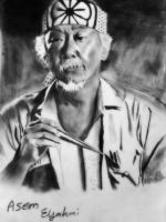 Pencil drawing of Mr.Miyagi by frost1993
