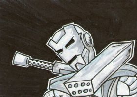 B-n-W War Machine sketch card by johnnyism