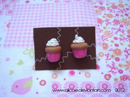 Cupcake Earring Pink by alicoe