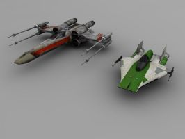 X-wing and A-wing by DudQuitter