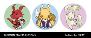 Digimon Tamers Doodle Buttons by tiikay