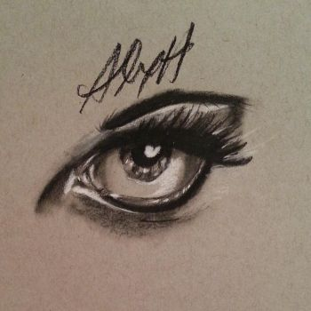 Eye sketch (black/white charcoal on toned paper) by R053DR4GON