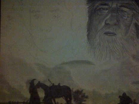 Lord of the Rings WIP 1  Realistic Drawing by kennethkangaroo