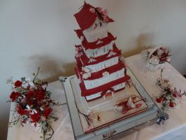 Wedding Cake Inspired by Himeji Castle by FifiCake