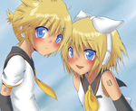 colored lineart - rin and len by Lantaniel