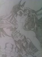 Batman and Wonder Woman kiss by Kingoart