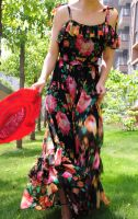 Black Floral Maxi Dress 4 by yystudio