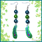 Hand Made Green Blue Peacock Feather Earrings by izka-197