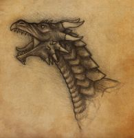 Dragon sketch by TheHellcow
