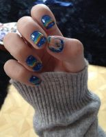 Nyan Cat nails by SoraAkihiru