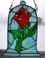 Beauty and the Beast Rose Stained Glass Blue Retak by AutobotWonko