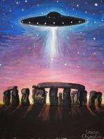 Stonehenge UFO painting by CORinAZONe