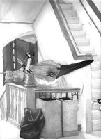 Birds in staircase by Bronze-Corsair