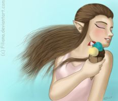 Zelda and her ice-cream... by Filiana