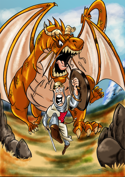 Dragon  y justiciero by caffeineman