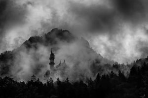 Konig Ludwig Castle in Clouds by druteika