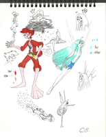 Sea Prince and the Fire Child Sketches by joyhorse13