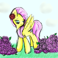 Fluttershy With Flowers Sketch by mykittyjasper