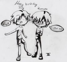 Italy and Romano birthday by InsainCat1111