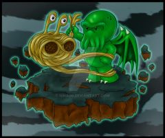 Cthulhu vs Flying Spaghetti Monster by nina06