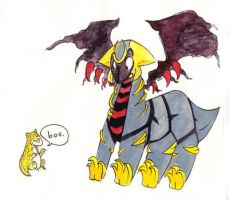 Timid Giratina gets spooked by BlueCheshireCat