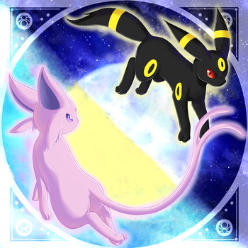 Espeon and Umbreon by Linachi0