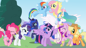 Mane 6 and The Princesses by Vomwerth