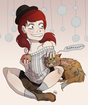 Di + zombie kitty by monkette