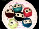 Fuzzy Ninja keychains by Sugarlishes