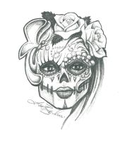 Sugar Skull Sketch by LeelaB