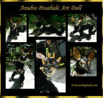 Anubis Posable Art Doll by Eviecats