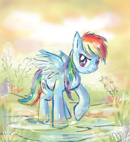 Rainbow Dash in the Misty Pond by lotothetrickster