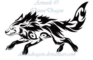 Tribal Mightyena Tattoo by DansuDragon