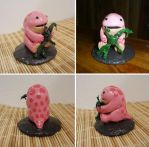 Pink quaggan with seaweed doll figurine by Koreena