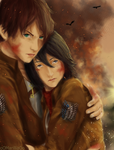 [ErenxMikasa] Titan boy and the red scarf soldier by xXMarilliaXx