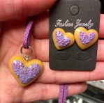 Polymer clay biscuit Purple Heart earring necklace by kellykim1982